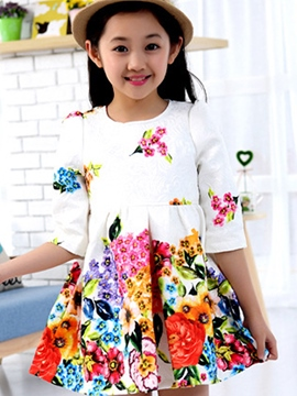 Ericdress Jacquard Fabrics Floral Printed Pleated Girls Dress