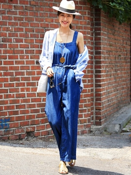 Ericdress Straight Denim Jumpsuits Pants