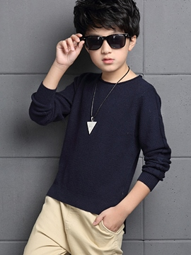 Ericdress Knitting Weave Patch Sleeve Tee Boys Top