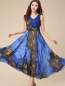 Ericdress Summer Sleeveless Expansion Maxi Dress