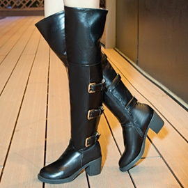 Ericdress Cool PU Buckles Knee High Boots