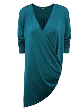 Ericdress Solid Color V-Neck Asymmetric T-Shirt