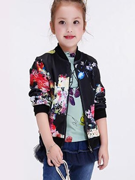 Ericdress Color Block Thread Patchwork Girls Outerwears