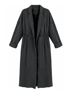 Ericdress Solid Color Loose Pleated Trench Coat