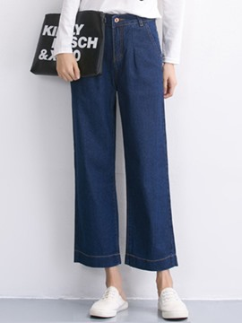 Ericdress Solid Color Wide Legs Jeans