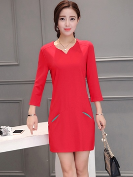 Ericdress Plain Long Sleeve Autumn Bodycon Dress