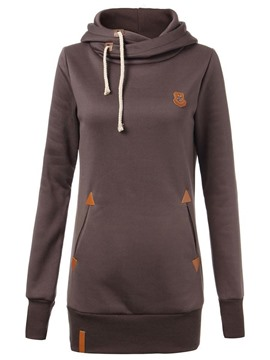Ericdress Straight Asymmetric Lace-Up Hoodie