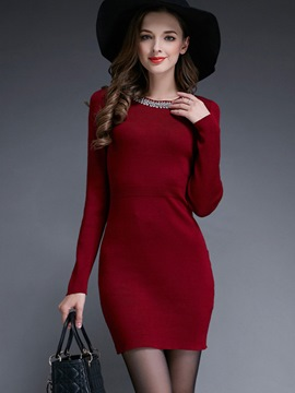 Ericdress Plain Bead Knitted Bodycon Dress
