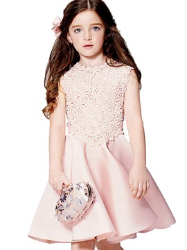 Ericdress Lace Hollow Patchwork Pleated Girls Dress