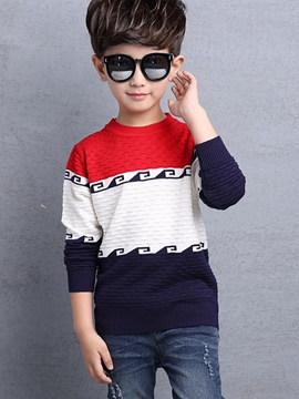 Ericdress Knitting Color Block Pattern Boys Top