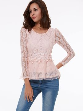 Ericdress Sweet Lace Patchwork Beads Blouse