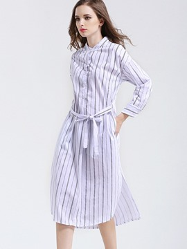 Ericdress Elegant Stripped Lace-Up Long Blouse