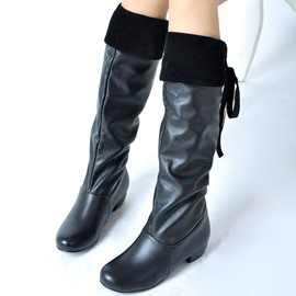Ericdress Cool PU Back Lace up Knee High Boots