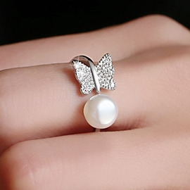 Ericdress 925 Silver Butterfly Pearl Ring