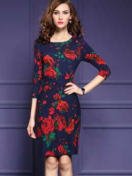 Ericdress Flower Print Three-Quarter Sleeve Round Neck Bodycon Dress