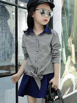 Ericdress Lattice Belt-Tied Above Knee Pleated Girls Outfits