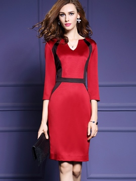 Ericdress Chic Color Block Patchwork Bodycon Dress