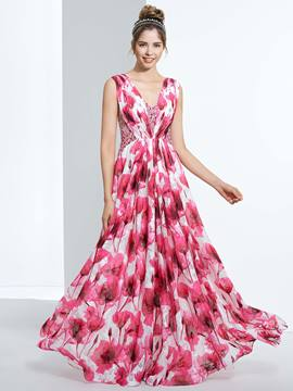Ericdress A-Line V-Neck Beading Pleats Printed Floor-Length Prom Dress