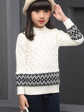 Ericdress Wave Knitting Pope Pattern Patchwork Sweater Girls Top