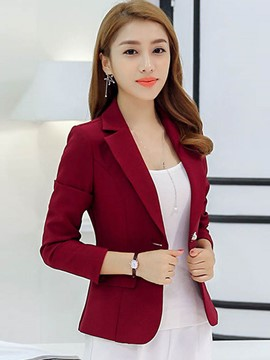 Ericdress Solid Color One-Button Slim Formal Blazer