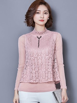 Ericdress Solid Color Stand Collar Lace Patchwork Blouse