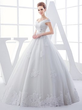 Ericdress Amazing Appliques Beaded Ball Gown Off The Shoulder Wedding Dress
