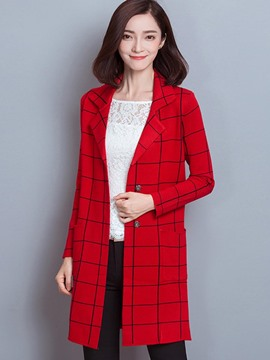 Ericdress Straight Pocket Plaid Coat