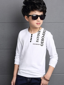 Ericdress Button Appliques Letter Printed Boys Top