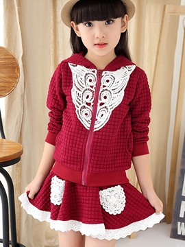 Ericdress Lattice Crimp Fabric Hooded Lace Patchwork Two-Piece Girls Outfit
