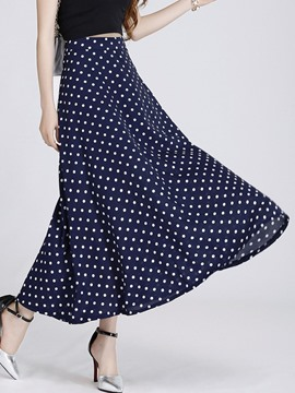 Ericdress Casual Polka Dots Maxi Skirt
