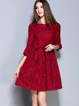 Ericdress Solid Color Lace-Up Round Neck Lace Dress