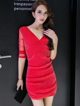 Ericdress Solid Color Pleated V-Neck Long Sleeve Bodycon Dress