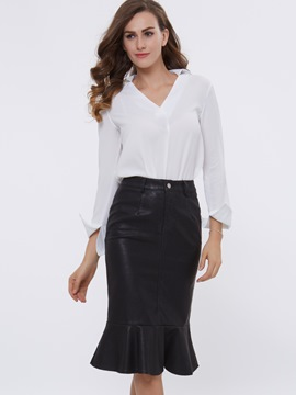 Ericdress V-Neck Plain Blouse