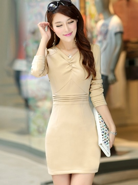 Ericdress Solid Color V-Neck Long Sleeve Bodycon Dress