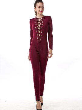 Ericdress Solid Color Simple Long Sleeve Jumpsuits Pants