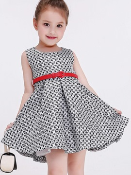 Ericdress Lattice Belt Pleated Sleeveless Girls Dresses