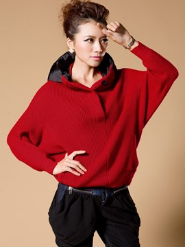 Ericdress Color Block Loose Batwing Hooded Knitwear