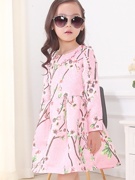 Ericdress Peach Blossom Printed Pleated Tee Girls Dress