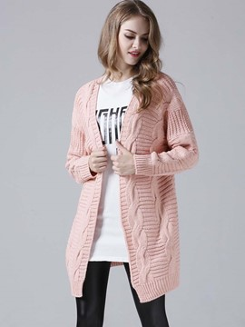 Ericdress Loose Solid Color Wrapped Cardigan Knitwear