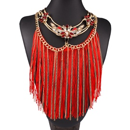 Ericdress Multilayer Tassel Diamante Necklace