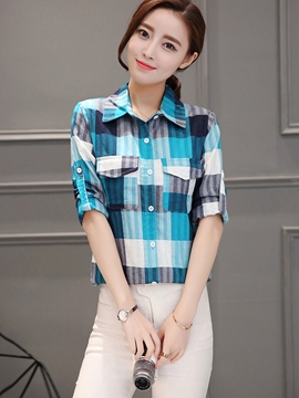 Ericdress Single-Breasted Plaid Blouse