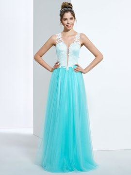 Ericdress A-Line V-Neck Lace Appliques Button Back Floor-Length Prom Dress
