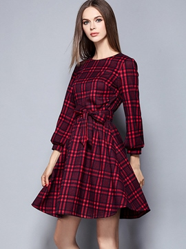 Ericdress Autumn Long Sleeve Plaid Casual Dress