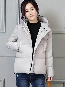Ericdress Solid Color Hooded Thick Coat