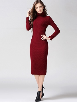 Ericdress Plain Turtleneck Split Sweater Dress