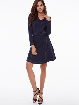 Ericdress V-Neck Lace-Up Denim Casual Dress