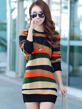 Ericdress Round Neck Long Sleeve Sweater Dress
