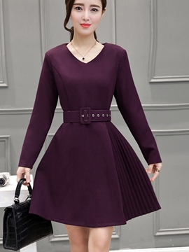 Ericdress Autumn V-Neck Long Sleeve Solid Color Casual Dress