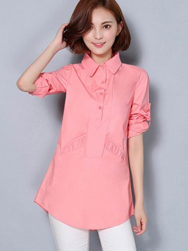 Ericdress Solid Color Slim Turn-Down Pleated Blouse