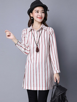 Ericdress Slim Stripped Simple Blouse